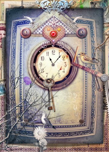 Tuinposter Imagination Wonderland scenery with gothic inside,clock,heart and key