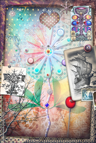 Papiers peints Imagination Psychedelic background with alchemical and mystic flowers and ethnic draws