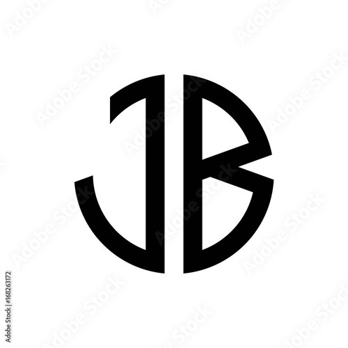 Initial Letters Logo Jb Black Monogram Circle Round Shape Vector