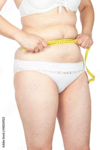 Obraz na plátne  Fat woman measuring her stomach