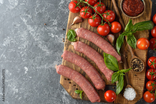 Fotografering  Natural raw sausages