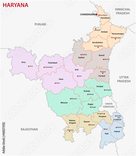 Haryana India Map.Haryana Administrative And Political Map India Buy This Stock