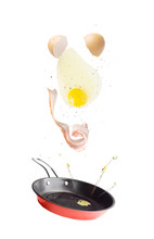 Flying Pan With Bacon, Egg And...