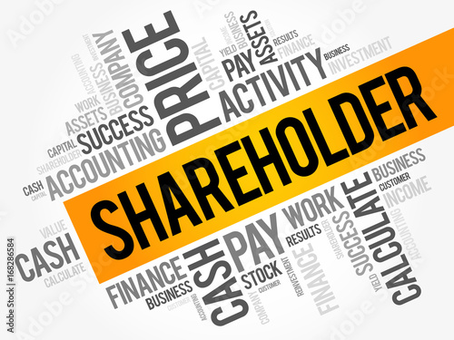 Fotomural Shareholder word cloud collage, business concept background