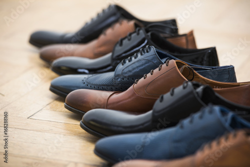 Obraz Men shoes collection - different models and colors - fototapety do salonu