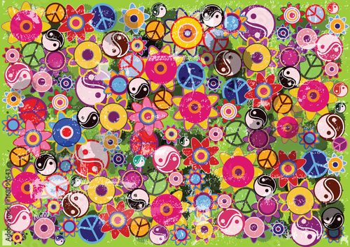 Photo  abstract vector grunge hippies background with flowers and colorful icons