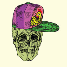 Skull Front In Pink Cap With Rooster, Hand Drawn Doodle, Sketch In Woodcut Style, Vector Illustration