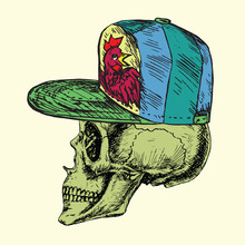 Skull In Green Cap With Rooster, Hand Drawn Doodle, Sketch In Woodcut Style, Vector Illustration