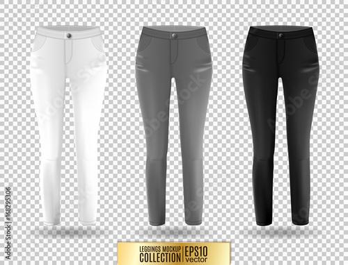 blank leggings mockup set white gray and black on transparent background clear leggins