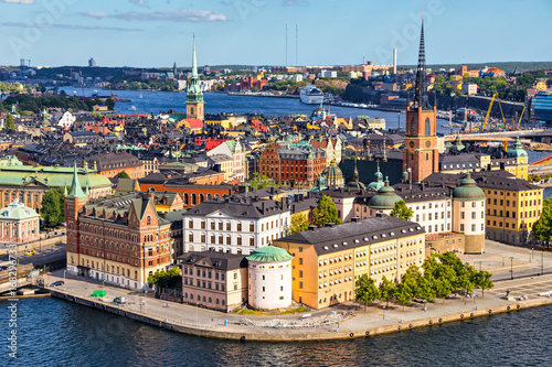 Staande foto Stockholm Old Town (Gamla Stan) of Stockholm, Sweden. Aerial view on city skyline on Riddarholmen island