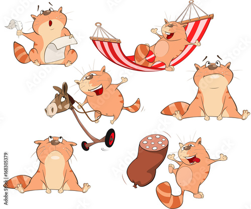 Papiers peints Chambre bébé Set Cartoon Illustration. A Cute Cats for you Design