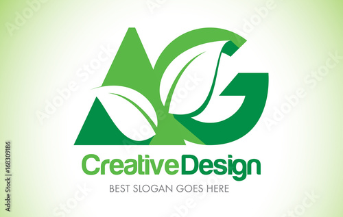 Photo AG Green Leaf Letter Design Logo