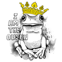 Poster With A Picture Of A Frog Wearing A Yellow Crown. Vector Illustration.