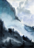 Chmury niebo krajobraz akwarela - 168314756