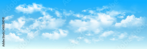Background with clouds on blue sky. Blue Sky vector Wallpaper Mural
