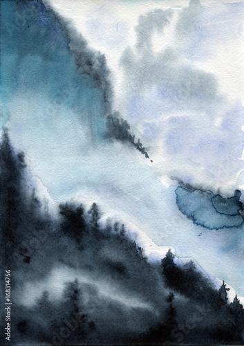 akwarela-krajobraz-niebo-chmury