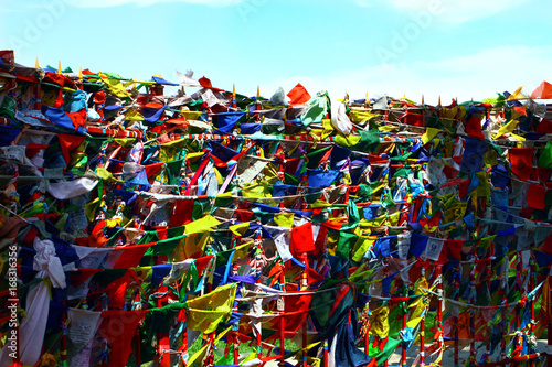 Canvas Prints Seoul Buddhism prayer flags lungta wind horse with om mani padme hum buddhist mantra