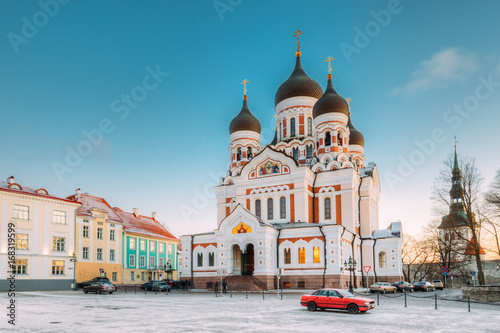 Tallinn, Estonia. Morning View Of Alexander Nevsky Cathedral. Famous Orthodox Cathedral Is Tallinn's Largest And Grandest Orthodox Cupola Cathedral.
