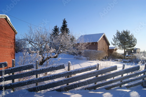Photo  Countryside in Norway during winter.