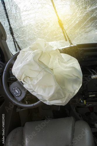 Photo Car of accident Make airbag explosion damaged at claim the insurance company
