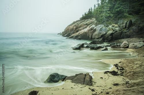 Foto op Plexiglas Kust Coast of the Atlantic Ocean in the fog. Rocky beach with coniferous trees on the cliffs. Acadia National Park. Maine. USA. Long exposure.