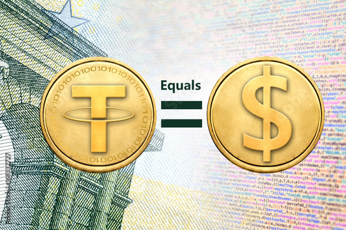 Fotografía  Concept of Tether (or USDT) equals to1 US Dollar,  Cryptocurrency