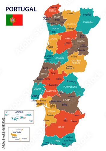 Portugal - map and flag – illustration Fototapete