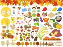 秋のイラスト素材セット2017