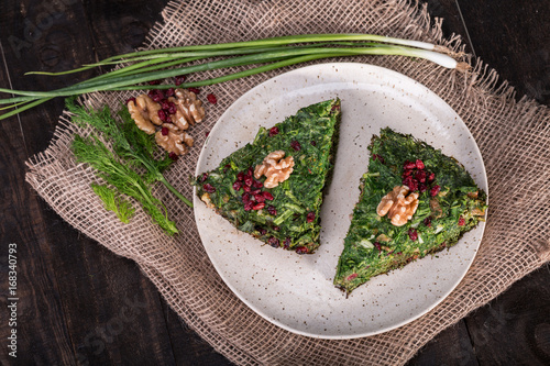 Top View of Persian Mixed herbs frittata with barberry and walnut Kuku and Zeres Wallpaper Mural