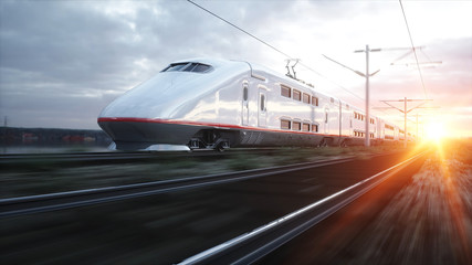 Fototapeta Electric passenger train. Very fast driving. journey and travel concept. 3d rendering.