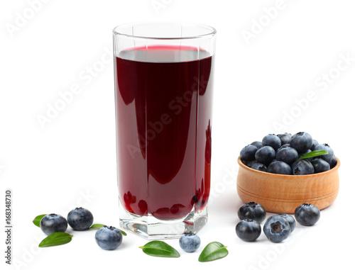 blueberry juice isolated on white background. Fototapete