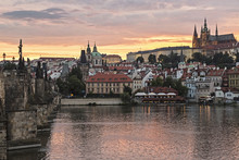 View At Prague's Castle At Sunset
