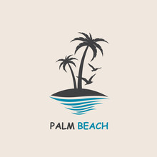 Icon With Palm Trees Silhouette On Island