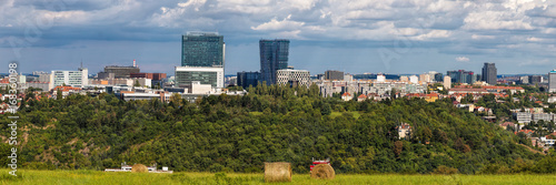 Photo  Wide panorama of Pankrac, Prague main business district with modern tall buildings, highest in Prague