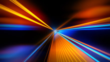 Motion Speed Lights. Speed Motion On The Neon Glowing Road At Dark. Speed Motion On The Road. Colored Light Streaks Acceleration. Abstract Illustration. Orange And Blue Motion Streaks. Space Gates.