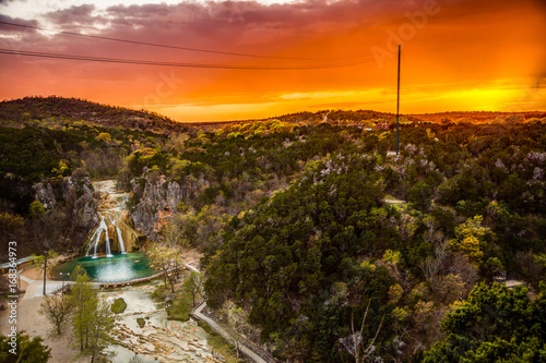 Poster Marron chocolat Turner Falls Sunset in the Arbuckle Mountains of Oklahoma