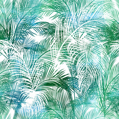 Obraz na Szkle Do jadalni Seamless pattern of palms leaves