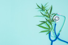 Medical Marijuana And Stethoscope. Green Leaves Of Cannabis. Empty Space For Text