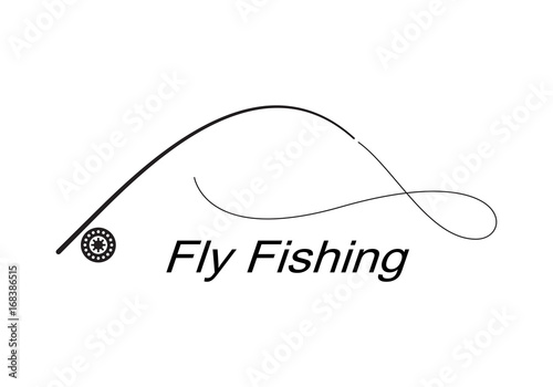 graphic fly fishing, vector
