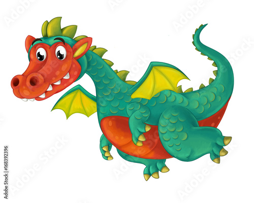 cartoon happy and funny dragon flying isolated - illustration for children