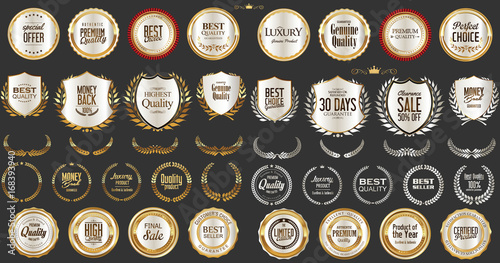 Fotografía  Luxury gold and silver design badges and labels collection