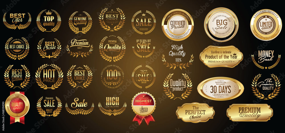 Fototapeta Luxury gold and silver design badges and labels collection