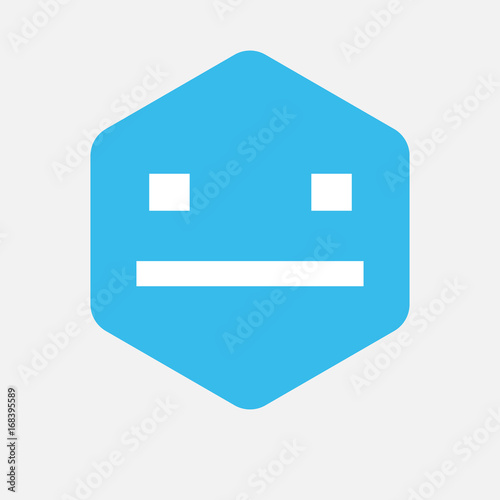 Fotografering  Isolated hexagon with a emotionless text face