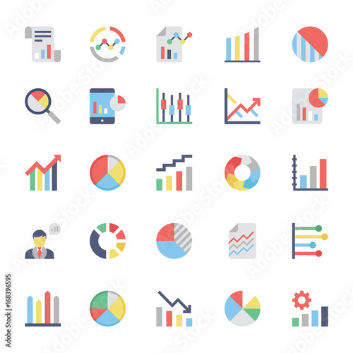 Pinturas sobre lienzo  Business Charts and Diagrams Colored Icons 3