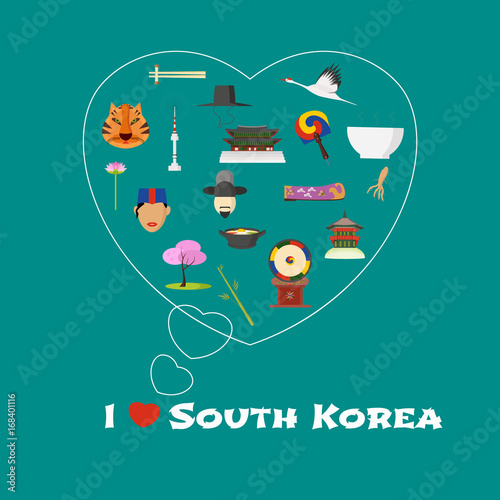 Heart shape illustration with I love South Korea quote Poster
