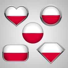 Poland Flag Icons Theme. Vecto...
