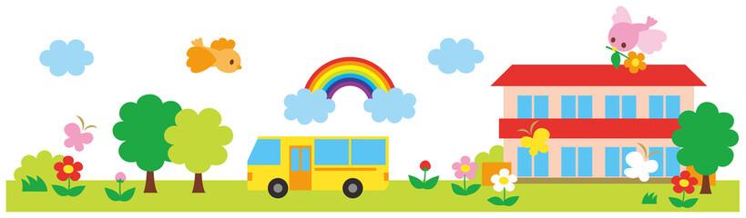 校舎 バス 風景