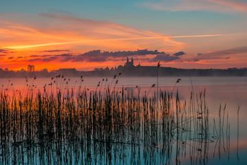 Fototapeta Współczesny Sunrise at Lake Wigry, Masurian Lake District