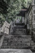 Walkway, Steep Stairway Going Up To The Trsat Castle. Rijeka (Fiume), Croatia. HDR Technique.
