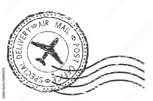 Post service, special delivery air mail black postmark with plane sign Canvas Print